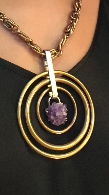 Laurel Patrick Brass Rings with Amethyst Pendant