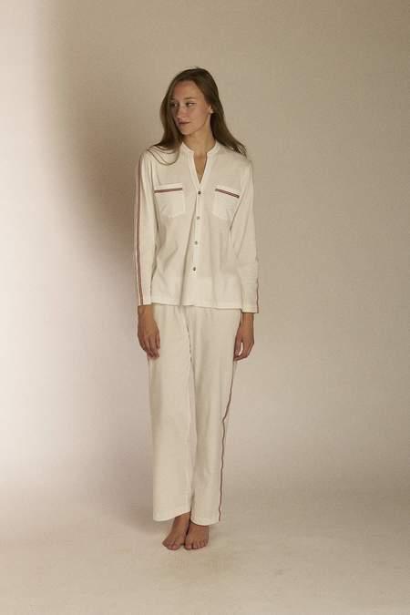 Salua Pima Cotton Side Striped PJ - White/Grey
