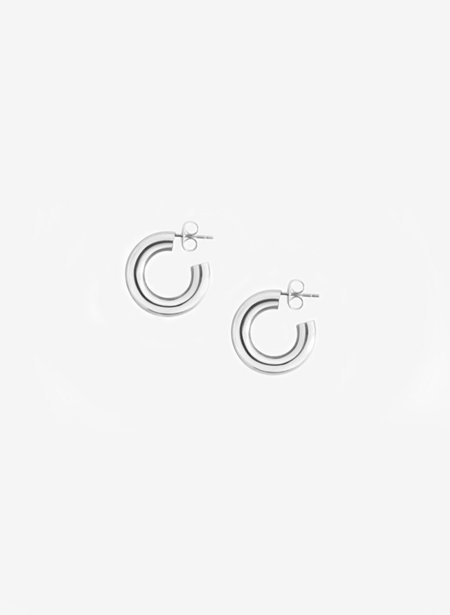 Laura Lombardi Medium Silver Hoop Earrings