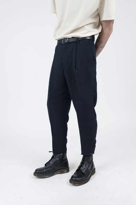 Four Horsemen Zip Pleated Trouser - Dark Navy