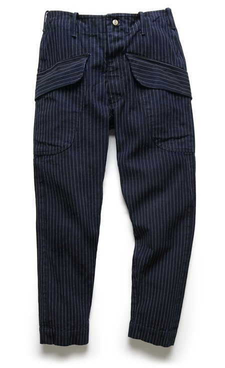Fortune Goods CARGO PANT IN SELVEDGE INDIGO TICKING STRIPE