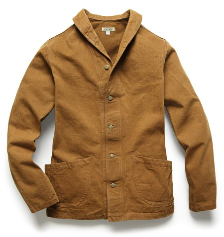 Fortune Goods: SHAWL JACKET IN TOBACCO HERRINGBONE TWILL