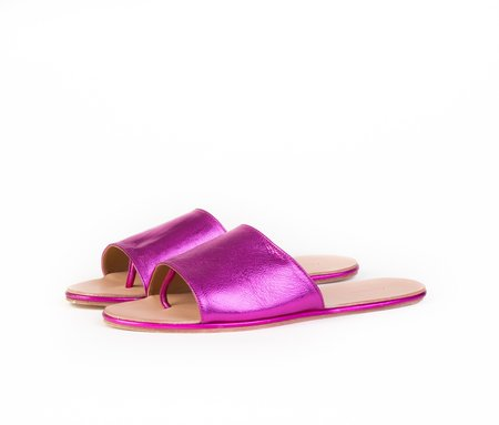 The Palatines Shoes Caelum Slide sandal - Magenta Metallic Leather