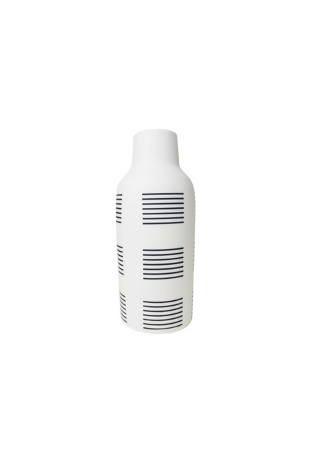 The Granite Bottle Vase, Black & White Stripe