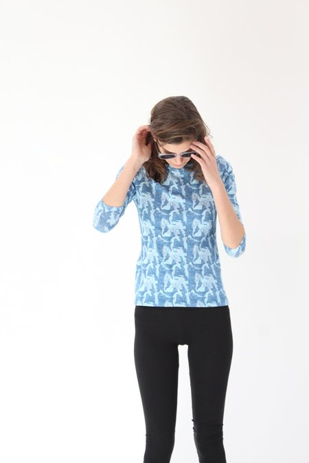 Lina Rennell Crew Tee Shirt - Blue Small Mountain
