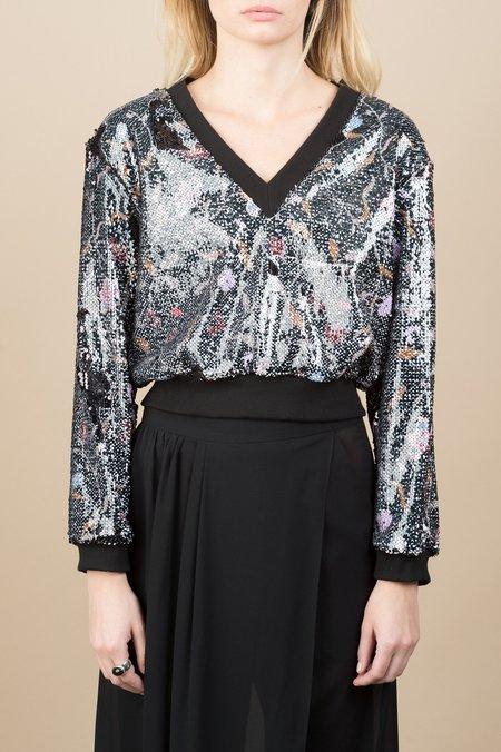 Rachel Comey Italo Top In Black Flowers