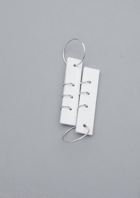 Ribeyron Pierced 3-Hole Earrings - White