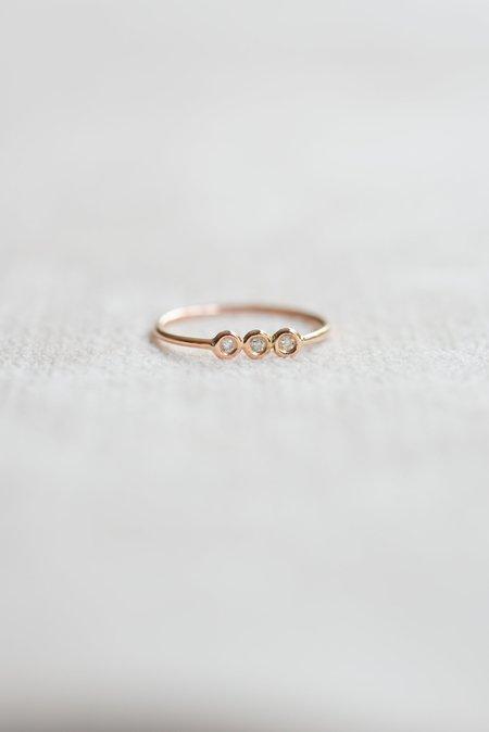 Gjenmi 14K Rose Gold Trio Diamond Wire Ring, Size 6