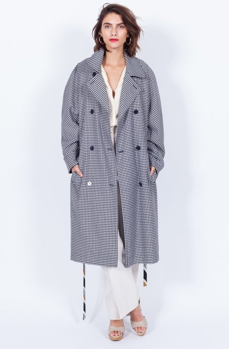 Yo Vintage! Wool Black and White Coat (One Size)
