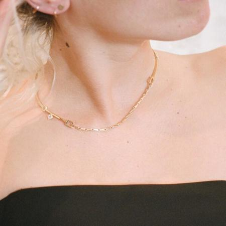 Wasson Fine 14k Gold Link and Chain Collar with White Sapphire