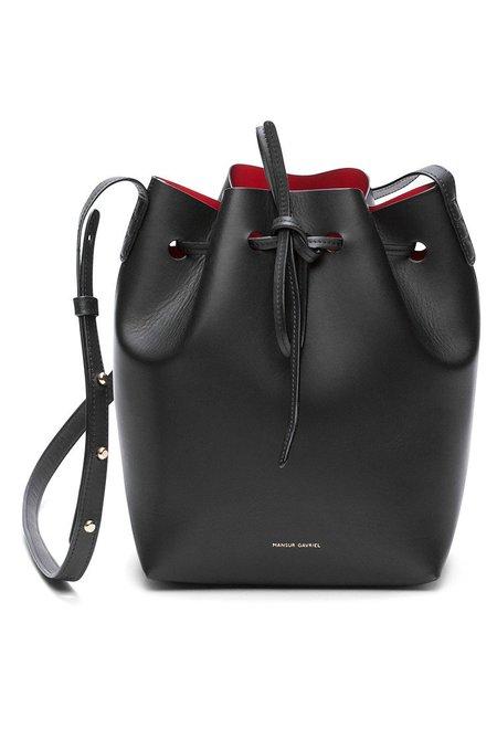 Mansur Gavriel Black/Flamma Mini Bucket Bag