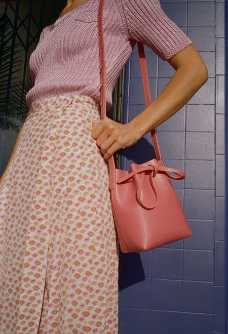 Mansur Gavriel Mini Mini Bucket Bag - Blush Saffiano