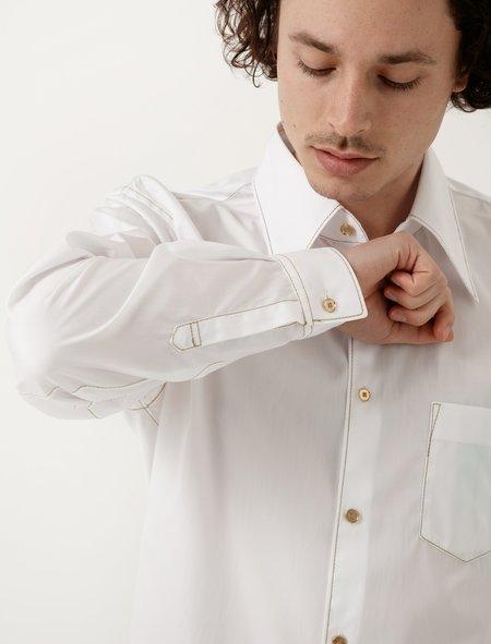 Comme Des Garçons Shirt White with Gold Stitch Shirt