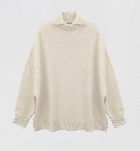 Ryan Roche Chunky Double Neck Sweater - Ivory