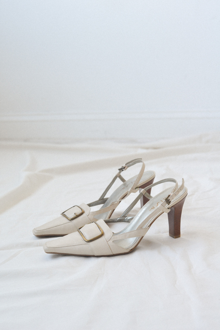 Either, And Vintage Buckle Pointed Toe Slingbacks