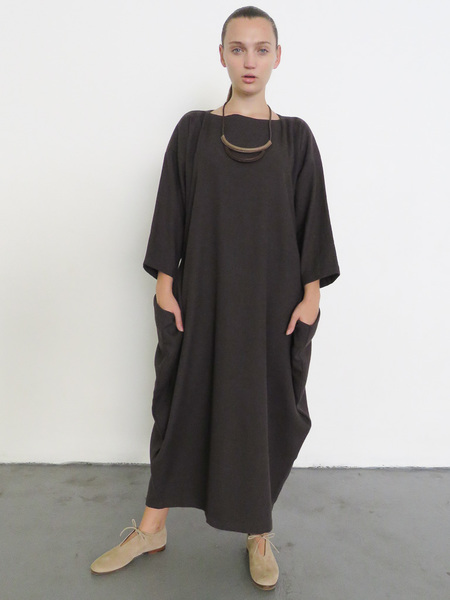 BLACK CRANE BOX DRESS - PLUM