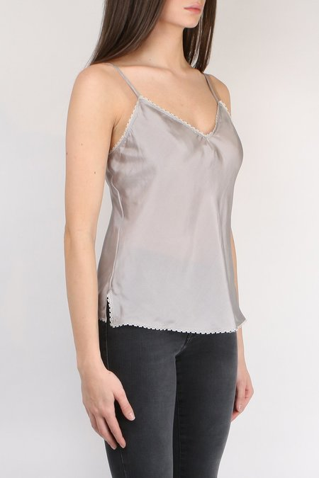 Lee Mathews Lace Silk Cami Top - Silver
