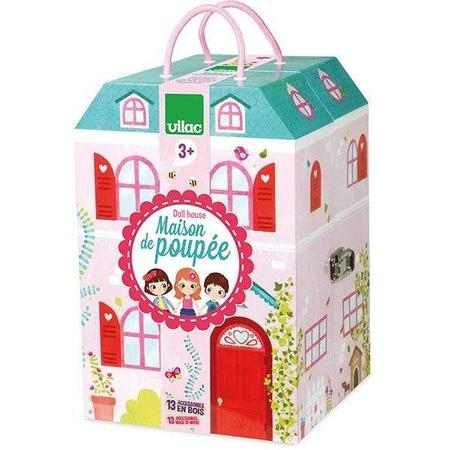 Vilac Doll House in a Suitcase, 13-Piece