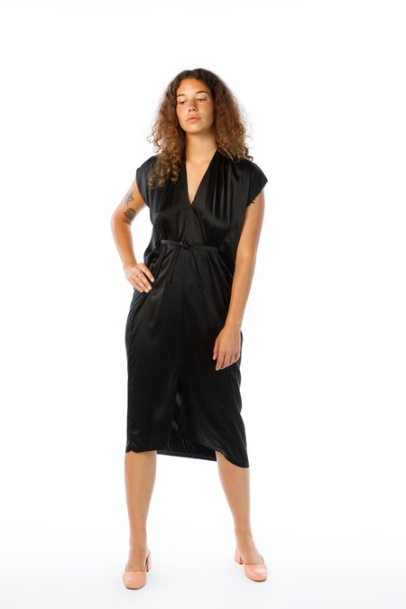 Miranda Bennett Knot Dress - Silk Charmeuse in Black
