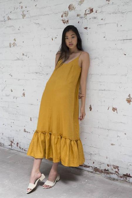 Lois Hazel Mustard Gather Dress