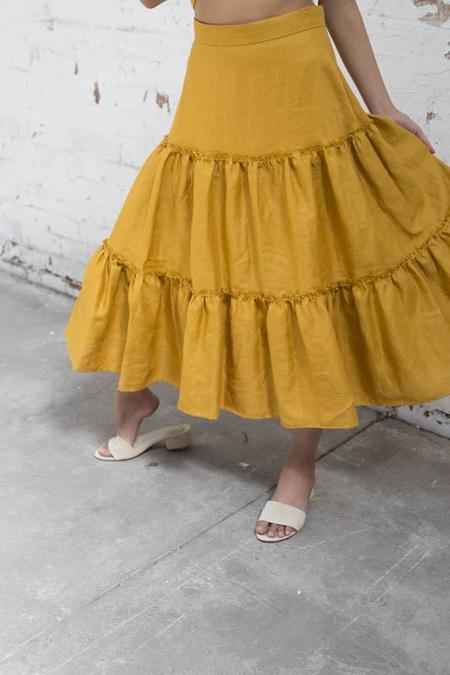 Lois Hazel Mustard Gather Skirt