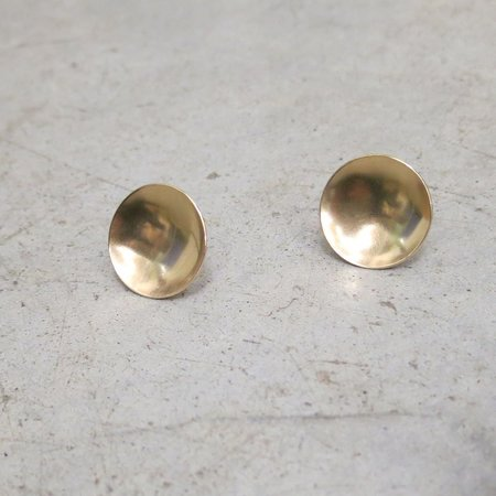 Another Feather 14k Gold Saucer Earrings