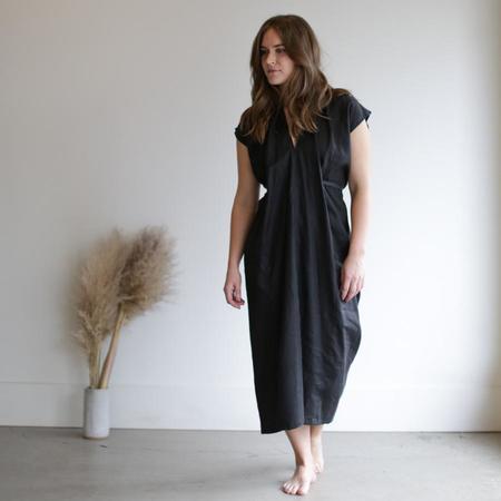 Miranda Bennett Knot Dress - Black Linen