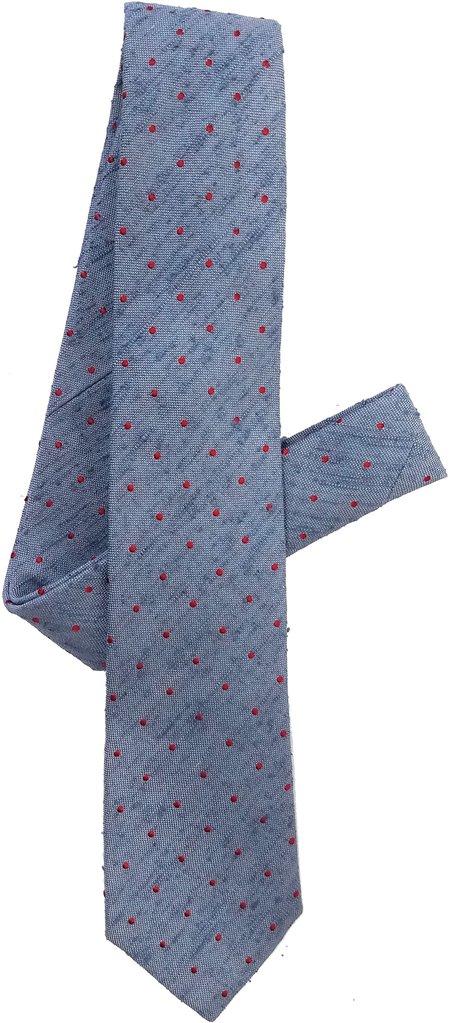 David Hart Blue Pin Dot Tie
