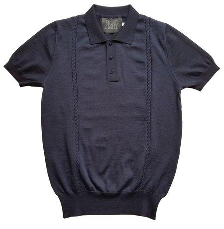 David Hart navy cable knit polo