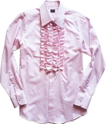 David Hart pink ruffle front tuxedo shirt