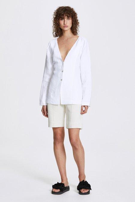 Her Line Studded long sleeve blouse - Linen blend - White
