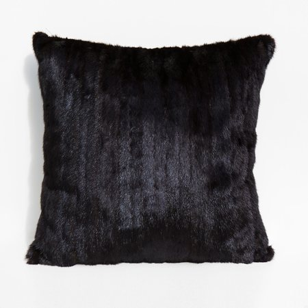 Found By Kindred Black Large Recycled Mink and Velvet Pillow