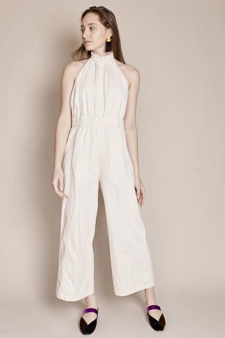 Apiece Apart Archer Backless Jumpsuit in Cream