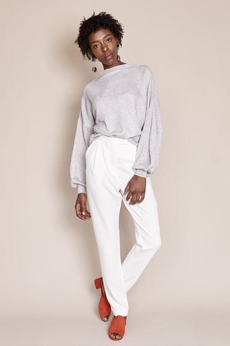 Apiece Apart Arkestra Balloon Sleeve Sweater in Silver