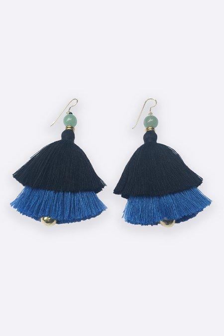 Ora-C Carmen Earrings - Black/Cobalt