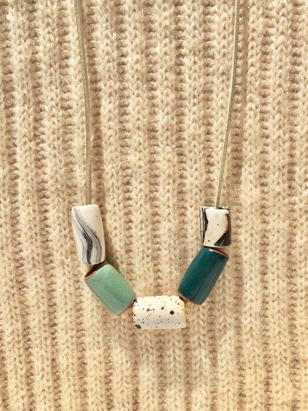 The Pursuits of Happiness Ceramic Bead Necklace - Teal/Seafoam