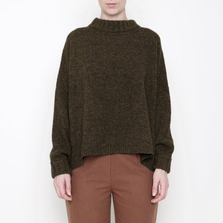 7115 by Szeki Classic Crewneck Sweater - Moss