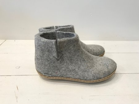 Unisex Glerups Wool Boot Slippers in Charcoal and Grey