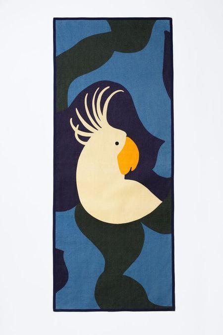Samuji KAKADU BEACH TOWEL in Blue with Ecru and Orange
