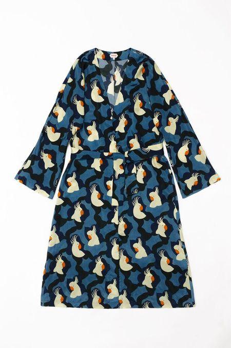Samuji KALIKO Coat  in Blue w/ Ecru and Orange