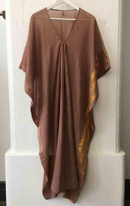 Two Brown Metallic Border Caftan
