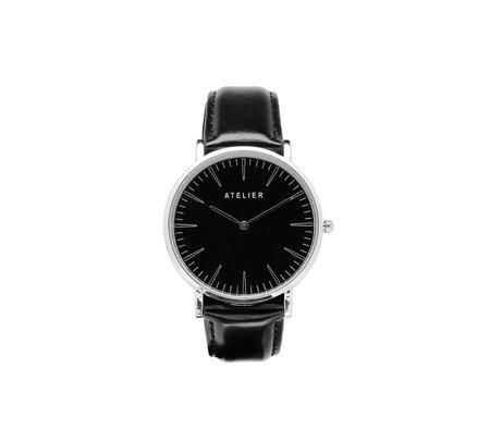 Atelier Black Canvas Watch - Silver + Black Leather