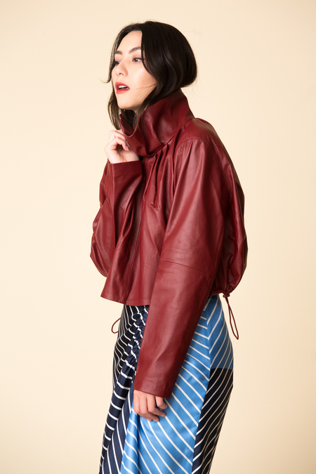 Tibi Tissue Leather Sculpted Top