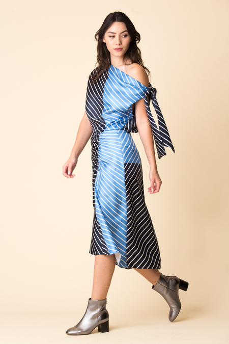 Tibi Delphina Stripe Shirred Skirt
