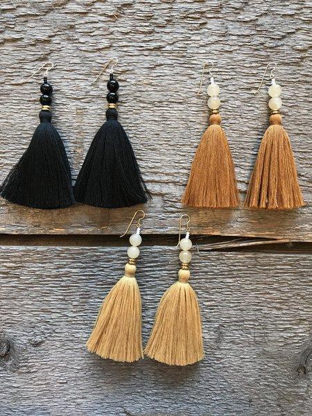 Ora-C Lina Earrings in Black, Caramel and Honey