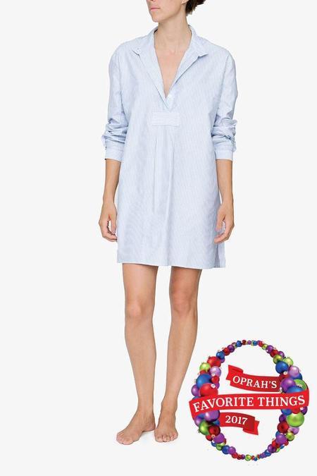 The Sleep Shirt Short Sleep Shirt - Blue Oxford Stripe
