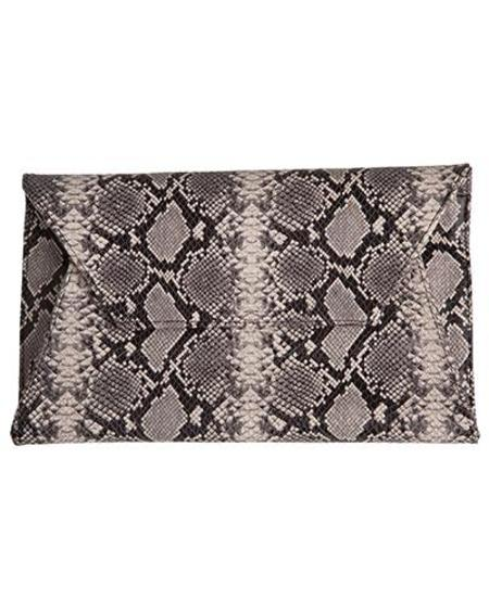 Oliveve cleo envelope clutch in black and white cobra cow leather