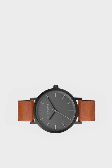 The Horse Original Watch - matte black/tan leather