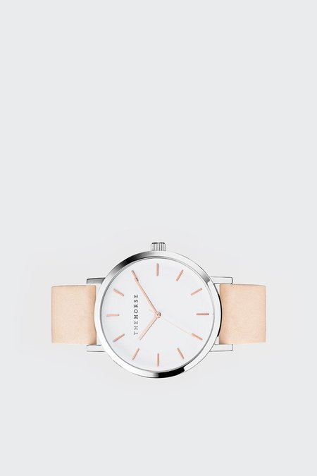 The Horse Original Watch - polished steel/white face/rose gold/vegetable leather