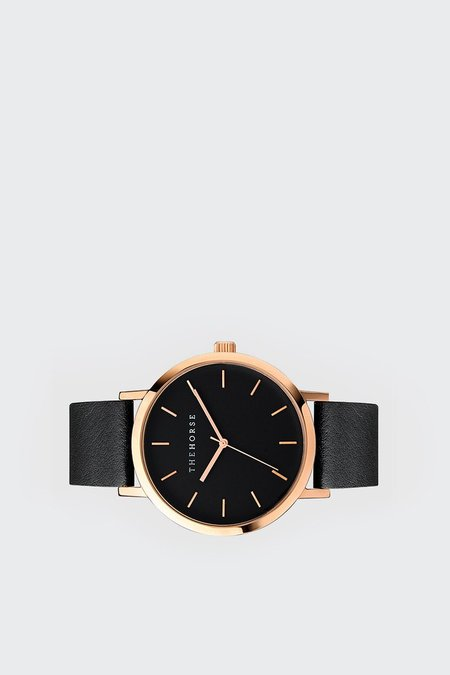 The Horse Original Watch - rose gold/black face/black leather